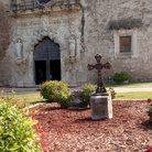 The grounds and a door at the Mission San Francisco de la Espada outside San Antonio, Texas.