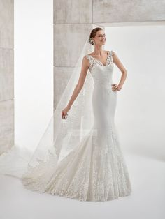 Classic mermaid off the shoulder v-neck backless Wedding Dresses with Lace Appliques PDWD0053