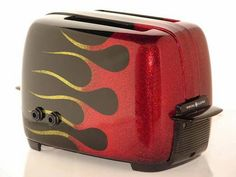"Now THIS is a sexy toaster: Guitar Amp in a Toaster, set on fire. WTF? All part of my ""Sexy Toasters"" theme, see why at www.comfytownchronicles.com"