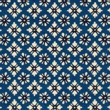 Papier japonais, katazome-shi, fond bleu, fleurs blanches