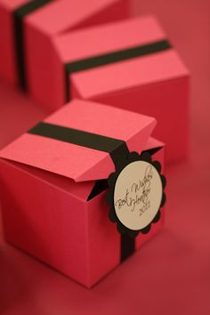 Pink and Black Custom Favor Boxes by PaperTagsAndMore