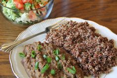 Refried Pinto Beans from Everyday Happy Herbivore cookbook, with red quinoa