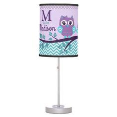 Baby Owl Lamb with Custom Name, Purple Teal Desk Lamp
