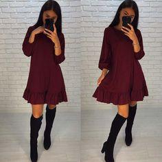 346e225040e Jesień 2017 Moda Casual Kobiety Ubierają Jesień Wzburzyć Trzy Czwarte Rękaw  Luźny Mini Sukienki Plus Size