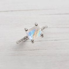 I LOVE THIS!! I want a Moonstone!  White Moonstone Rainbow Ring Beautiful Solitaire Ring by ShiriAvda, $582.00