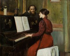 A Romance (1894). Santiago Rusiñol i Prats (Spanish, 1861-1931). Oil on canvas. Museu Nacional d'Art de Catalunya. The character that's watching the pianist is the musician Erick Satie. Rusiñol was a painter, poet, and playwright, and one of the leaders of the Catalan modernisme movement.