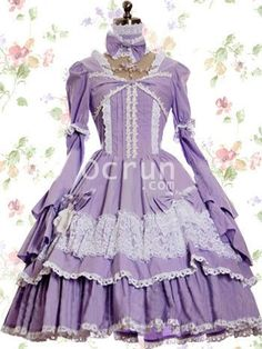 Violett Blau Baumwolle Klassiker Lolita Kleid