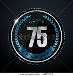 75 Years Silver anniversary logo, low poly design number