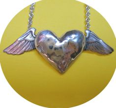 Winged Heart Necklace (silver) on Etsy, $140.00