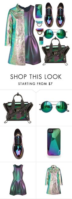 """""""Purple and Green Holographic"""" by julesdiaries ❤ liked on Polyvore featuring 3.1 Phillip Lim, Chicnova Fashion, Dr. Martens, Marc by Marc Jacobs, Cynthia Rowley, metallic and holographic"""