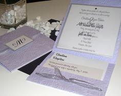 High School Crush square lilac pocket fold wedding invitation set ...