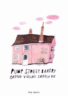 pump street bakery, Orford Village Suffolk, Uk illustration by moreparsley