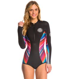 Rip Curl Women's 1mm G-Bomb Chest Zip Sublimated Springsuit Wetsuit at SwimOutlet.com – The Web's most popular swim shop