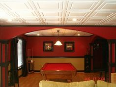 Decorative vinyl ceiling tiles and drop ceiling panels that are affordable, easy to install/maintain, mold/mildew resistant, and dust (and rust! Acoustic Ceiling Tiles, Drop Ceiling Tiles, Dropped Ceiling, Ceiling Panels, White Ceiling, Basement Guest Rooms, Basement Windows, Basement Ceilings, Basement Ceiling Options