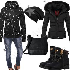 Schwarzes Damenoutfit mit Sternen-Hoodie un Mütze (w0726) #hoodie #steppjacke #stiefel #sterne #tomtailor #outfit #style #fashion #womensfashion #womensstyle #womenswear #clothing #frauenmode #damenmode #handtasche  #inspiration #frauenoutfit #damenoutfit