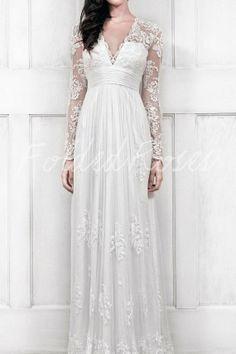 lace wedding dress long sleeve wedding dress by FoldedRoses