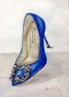 Original Oil Painting Shoe Lover Hangisi Manolo by Nina R.Aide RomaGalleries, $80.00
