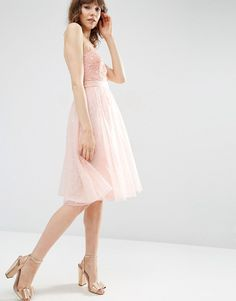 Image 4 of ASOS Dobby Mesh Midi Lace Skater Dress