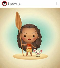 Moana by artist Jarrod Maruyama via Instagram, Disney character, Disney film, Hawaii, Hawaiian, kawaii,