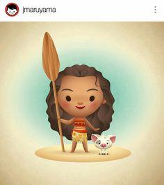 Moana by artist Jarrod Maruyama via Instagram, Disney character, Disney film, Hawaii, Hawaiian, kawaii,