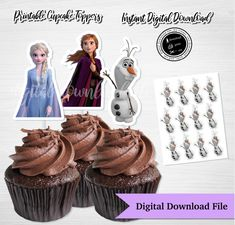 FROZEN 2 Cupcake Toppers, Digital Download, Frozen 2 Instant Download, Frozen 2 Cupcake,Frozen 2 Party Printable,Instant, Queen Elsa, Olaf by ThistlePartyDesigns on Etsy Olaf Cupcakes, Toy Story Cupcakes, Elsa Olaf, The Ch, Toy Story Party, Queen Elsa, Frozen Birthday, Etsy App, Print And Cut