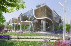 """#architecture : Vincent Callebaut Proposes """"Wooden Orchids"""" Green Shopping Center for China:"""