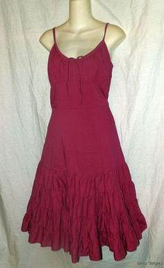 Womens ANTHROPOLOGIE ODILLE DRESS 12 Pink Magenta Bossa Nova Sundress Layered