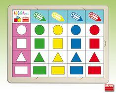 Logikai alakzatok 1. Grande Section, Math Activities, Montessori, Calendar, Education, Holiday Decor, Frame, Color, 3 Years
