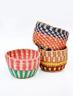 "African Catchall Basket $15 small 2.75"" h x 4"" w, $22 medium 4.5""h x 8.5""w"