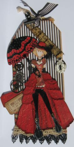 Priscilla Prima Julie Nutting doll tag - created by Joanne Scott - created an overskirt for a different kind of look. Kind of a cross between Folies Bergere and Steampunk look.