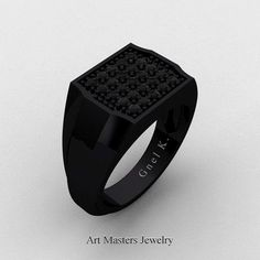 Mens Modern 14K Black Gold Micro Pave Black Diamond Designer Ring R326M-14KBGBD