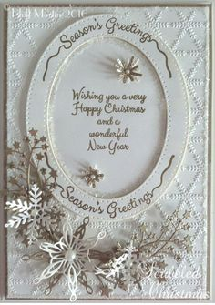 card made in antique gold and cream card Xmas Cards To Make, Christmas Greeting Cards, Christmas Greetings, Christmas 2017, Christmas Ideas, Christmas Crafts, Christmas Decorations, Christmas Things, Pinterest Christmas Cards