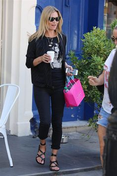 Kate Moss is seen at a cafe in Primrose Hill in London, on July 29.