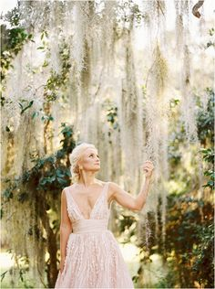 Bridal portraits at Legare Waring House in Charleston, SC, on the avenue of oaks with a Watters blush pink gown. Bridal Shower Chair, Small Bridal Bouquets, Pink Wedding Gowns, Southern Weddings, Bridal Shoot, Bridal Shower Decorations, Bridal Portraits, Charleston, Blush Pink