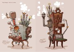 by Julien Rossire. Prop Design, Game Design, Norman Rockwell, Game Props, Visual Development, Environmental Art, Character Design References, Character Concept, Game Art