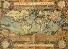 reproducci n del siglo XVI Mapa del mundo grabado y color por el famoso cart grafo holand s Abraham Foto de archivo