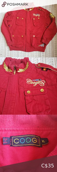 Coogi red jacket coat size Extra Large Coogi jacket Size Extra Large Red with colored details Small black mark as soon in pictures COOGI Jackets & Coats Performance Jackets Plus Fashion, Fashion Tips, Fashion Trends, Leather Jacket, Coats, Man Shop, Red, Jackets, Pictures
