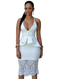 2017 New Fashion Women OL Style Dresses Summer Hammock V-Neck 2 Colors Crossover Straps Floral Lace Overlay Peplum Dress LC60542