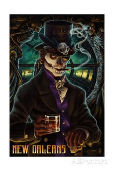 New Orleans, Louisiana - Baron Samedi Voodoo - Lantern Press Artwork Giclee Art Print, Gallery Framed, Espresso Wood), Multi Baron Samedi, Psychobilly, Voodoo Hoodoo, Voodoo Priestess, Witch Doctor, New Orleans Louisiana, Louisiana Art, New Orleans Voodoo, The Villain