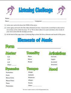 Listening Challenge Worksheets - Pianimation.com