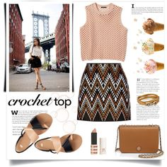 Cute crochet top by bogira on Polyvore featuring moda, Theory, DKNY, H&M, Tory Burch, Salvatore Ferragamo, Topshop, croptop, summerstyle and fashionset