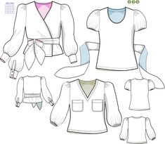 Flora blouse sewing pattern in sizes 34 - 46. Make your own design by changing sleeves and front pieces. Swedish Sewing, Make Your Own, Make It Yourself, How To Make, Flora, Sewing Patterns, Blouse, Sleeves, Design