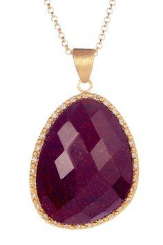 Rivka Friedman    18K Gold Clad Micro Pave Simulated Diamond Asymmetrical Red Jasper Teardrop Pendant Necklace