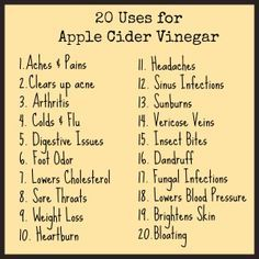 Apple Cider Vinegar Uses ACV Cleanse ■2 tablespoons Organic Apple Cider Vinegar ■1 teaspoon Honey ■½ cup warm water Try to drink this first thing in the morning and wait at least 30 minutes before you eat a meal.