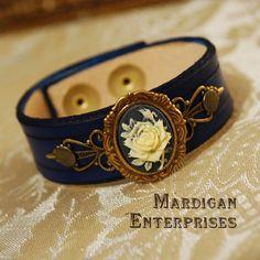 Navy Rose Cameo Bracelet by MardiganEnterprises on Etsy, $28.00