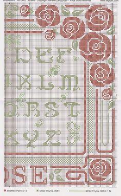 Cross Stitch Letters, Cross Stitch Borders, Cross Stitch Rose, Cross Stitch Samplers, Cross Stitch Flowers, Cross Stitching, Embroidery Alphabet, Embroidery Sampler, Cross Stitch Embroidery