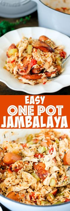 One Pot Jambalaya is full of chicken, andouille sausage, bell peppers, and spices! Only a few minutes of prep time to whip up this New Orleans favorite! #marquettecastings ad
