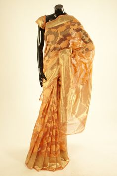Banarsi- kora tissue peach saree with blouse
