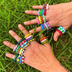 Fimo Ring, Polymer Clay Ring, Colar Diy, Diy Clay Rings, Bijoux Diy, Cute Jewelry, Beaded Jewelry, Jewellery, Beaded Bracelets