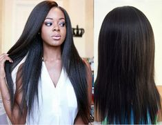NLW 10A Frontal Lace wigs Light Yaki Glueless Natural Peruvian Virgin Human Hair #NLW #Natural